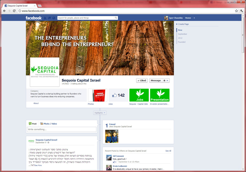 Sequoia Capital Facebook page